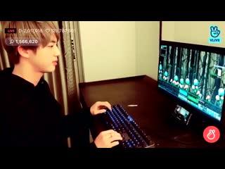 Stress level seokjin playing computer games