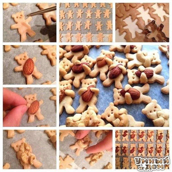 """Имбирное печенье """"Мишки с орешками"""". Простой рецепт печенья, который понравится детишкам не только по вкусу, но и своим необычным видом. В зависимости от возраст ребёнка вы можете уменьшить количество специй в тесте, некоторые можете убрать, печенье все равно получится вкусным. Вам потребуется: мука — 250 г сливочное масло комнатной температуры — 70 г сахар — 80 г яйцо — 1 шт какао — 1 ст. ложка молотый имбирь — 1 ч. ложка свежий тертый имбирь — 1 ч. ложка молотая корица — 1 ч. ложка…"""