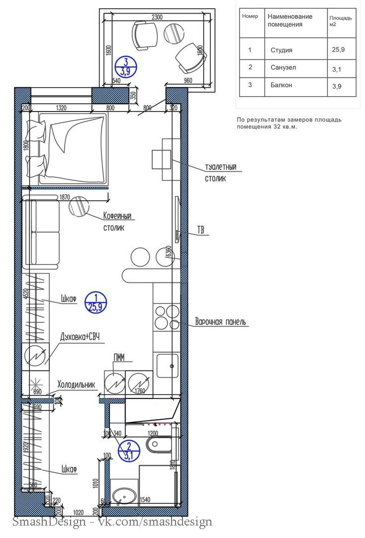 Идея дизайна для длинной и узкой квартиры