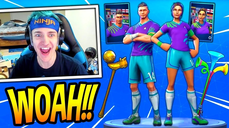 NINJA REACTS TO *NEW* WORLD CUP SKINS! VUVUZELA ELITE CLEAT PICKAXES! Fortnite FUNNY Moments