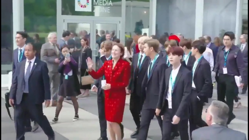If you watch closely, bts staff is keeping people away from the boys, and letting the boys