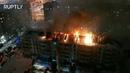 Видео с дрона крупный пожар в жилом доме Нижневартовска