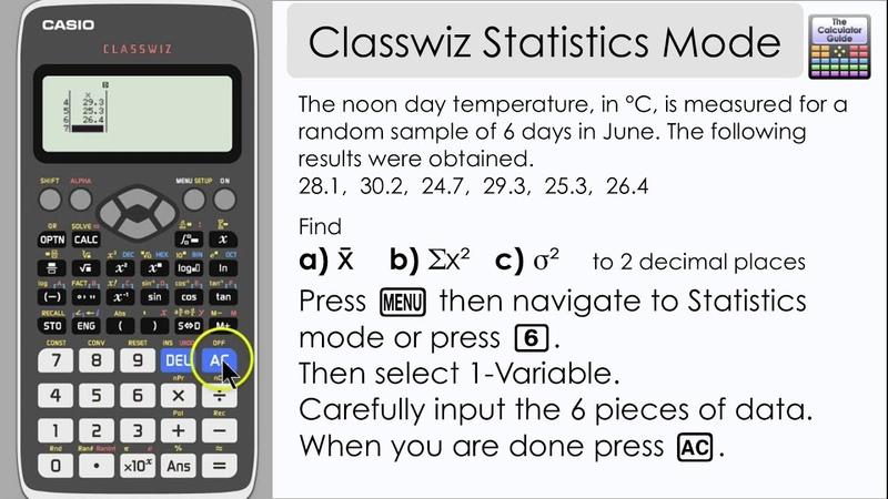 Casio Classwiz Statistics - Find Mean, Variance, Standard Deviation summary statistics 991EX 570EX