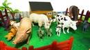 Домашние животные. Животные на ферме. Мультик для детей. животные игрушки ферма