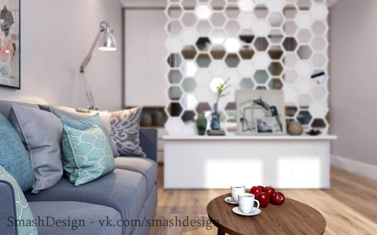 Стильная квартира студия с интересной идеей зонирования спальной и гостиной зоны