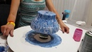 Double pour acrylic flow art blues terracotta pot silicone added half way through