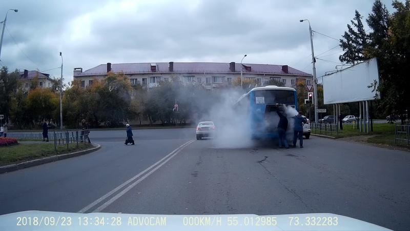 2017-09-23 Пожар автобуса 22 маршрут г.Омск