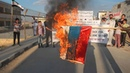 Kafranbelemonstration against the РФ aggression burns the РФ flag10-10-2015