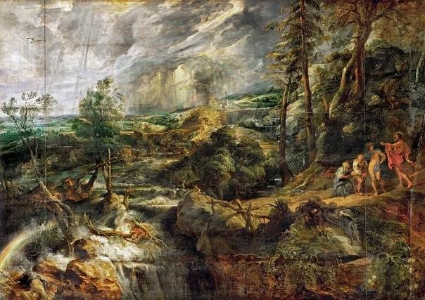 Рубенс выбирает для своего полотна Пейзаж в штормовую погоду сюжет мифа о Филемоне и Бавкиде, полный эмоций и переживаний, которые его рука воспроизвела на холсте Он изображает суровый