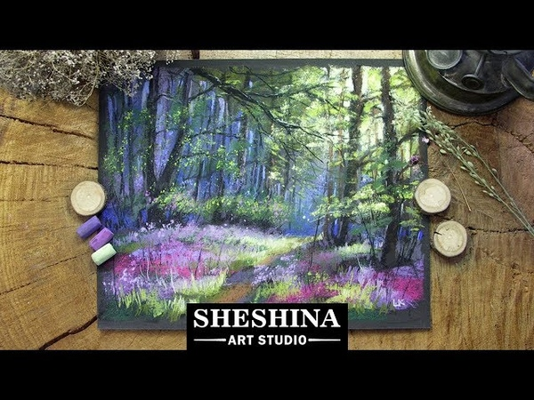 How to draw a spring forest with soft pastels 🎨 LANDSCAPES