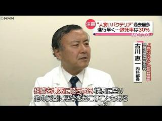 "Смертельная ""плотоядная бактерия"" поразила более 500 японцев (NNN NEWSRIP)"