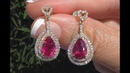 Certified Purplish Pink Rubellite Tourmaline Diamond Earrings 18k Gold 5.27 TCW - C1047