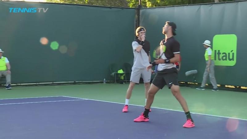 Funny Khachanov Rublev doubles fail! - Miami Open 2018