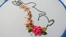 Embroidery ribbon: Easter bunny 🐰 Вышивка : Пасхальный заяц