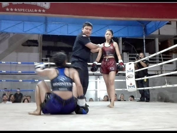 มวยไทยหญิง พิมพ์อรัญ ศักดิ์ชาตรี CHAMPION MYA weight 105 pound