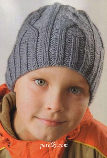 Шапка для мальчика спицами (2 фото) - картинка