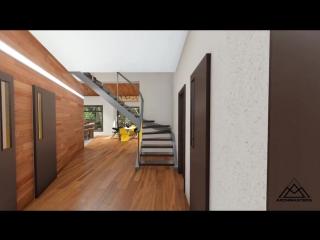 Проект одноэтажного дома с мансардой, гаража и бани в одном комплексе.mp4
