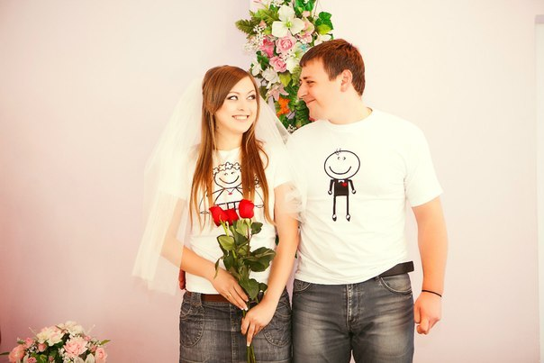 Парные футболки для молодоженов
