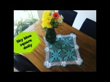 How to crochet sky blue square doily  Part 1 of 2
