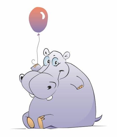 Поздравления, смешные рисунки бегемотов
