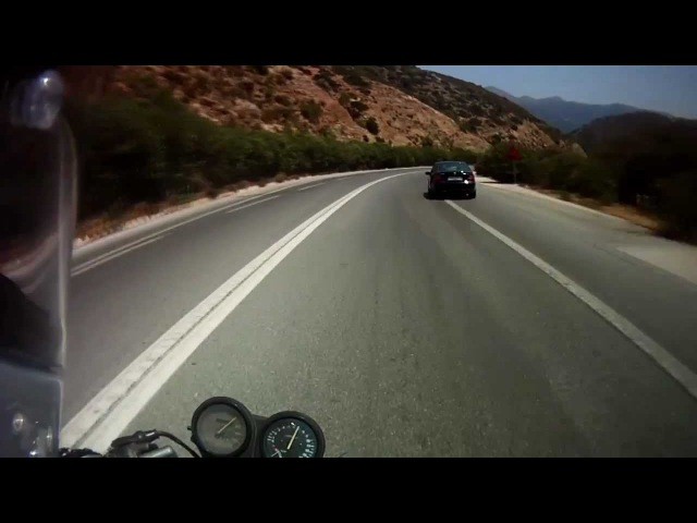 Honda CB-1 400 NC27 ride - Rethimno to Heraklion, Helmet Cam, Darkstep