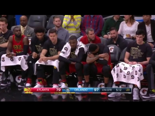 Kris Humphries does his impression of Dwight Howard's free throw shooting motion