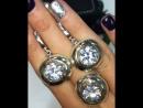 😍шикарный комплект ТРИО серебро925/ золото/ крупные цирконы алмазной огранки💎🔥