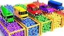 Learn Colors with Water Tank Trucks w Soccer Balls for Children | Street Vehicles for Kids to Learn