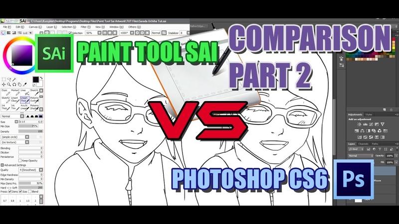 Paint Tool Sai vs Photoshop CS6 Graphic Tab Lineart Comparison Tutorial Part 2 (Sarada Uchiha)