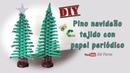 DIY Pino navideño tejido con papel periódico
