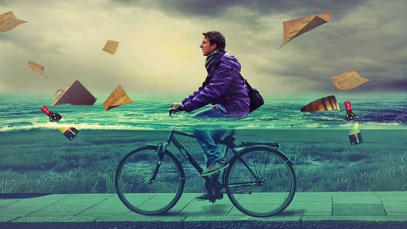 Cycling in water photo manipulation photoshop tutorial cs6 cc