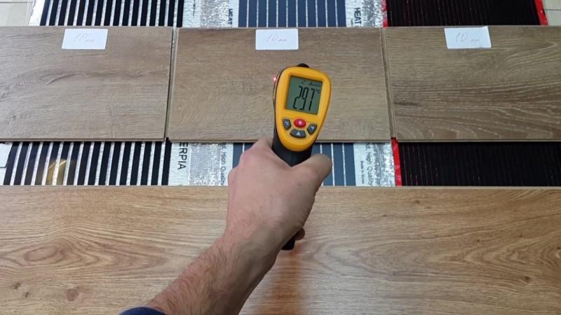 Тест на скорость нагрева ламината 8мм и 10мм на электрическом теплом поле