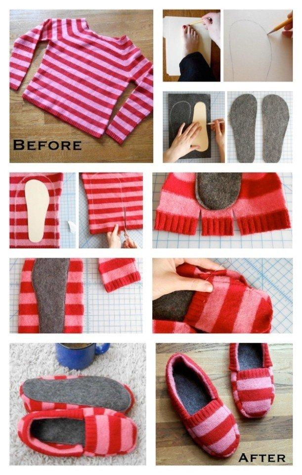 Как сделать из свитера тапочки