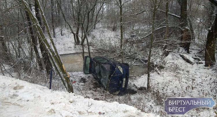 Клейники: автомобиль вылетел за пределы дороги и перевернулся