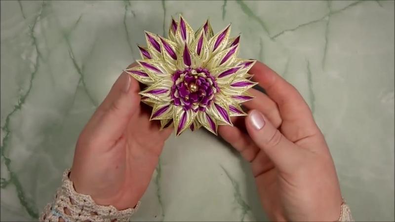 Красивые цветы канзаши из узкой ленты 0,6 см, лепесток косичка, МК Лерита _DIY