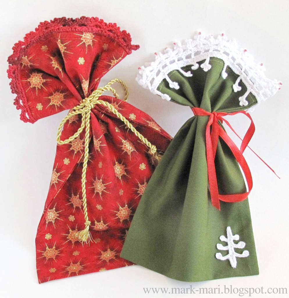 Bolsitas para regalo de tela y crochet Qdx9VUMwvac
