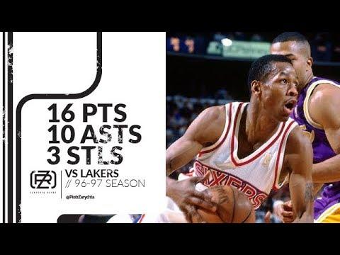 Allen Iverson 16 pts 10 asts 3 stls vs Lakers 96/97 season