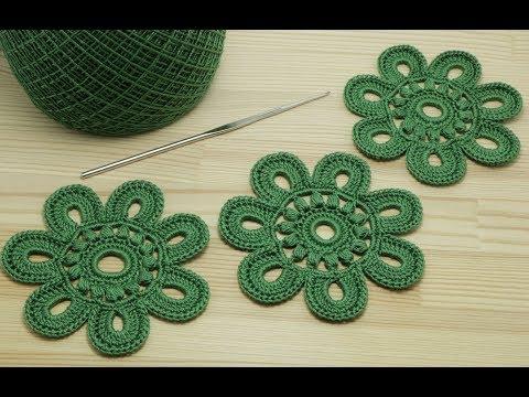 Вязание ЦВЕТКА крючком видео урок Crochet flower pattern