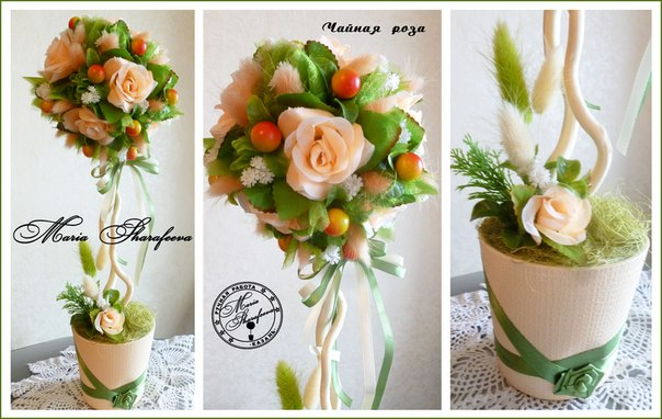 Топиарий из искусственных роз своими руками мастер класс