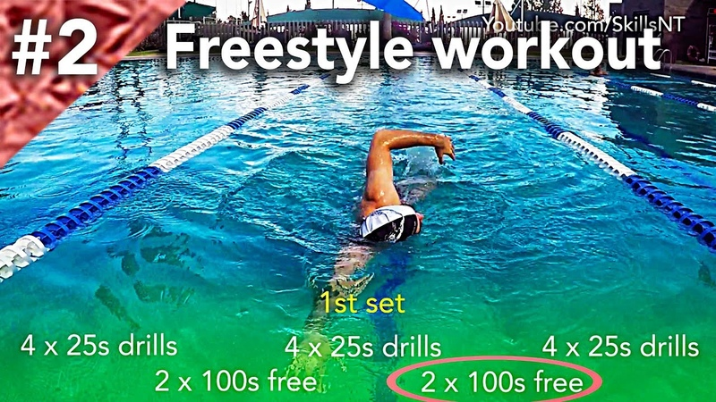 Freestyle swimming workout 2. Technique, distance per stroke and speed. Beginners