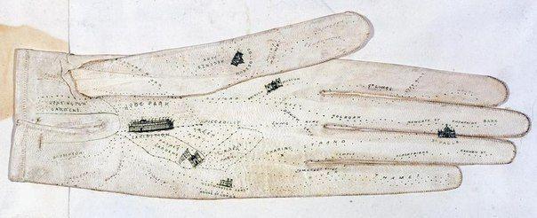 Карта Лондона на женской перчатке, 1851 г.