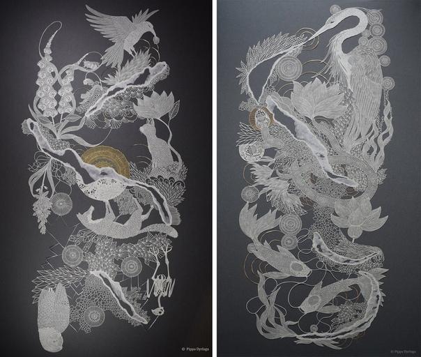 Великолепная резьба на бумаге Пиппы Дирлаги. Настоящие произведения искусства вырезает из бумаги британская художница Pippa Dyrlaga. Для создания очередного шедевра девушке нужны всего три вещи
