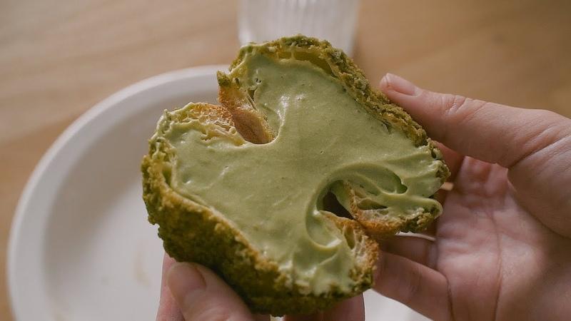 녹차크림 듬뿍 녹차 쿠키슈 Green tea cream puff cookie choux Honeykki 꿀키