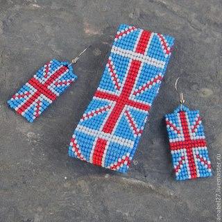 Комплект из бисера - браслет и серьги с британским флагом.