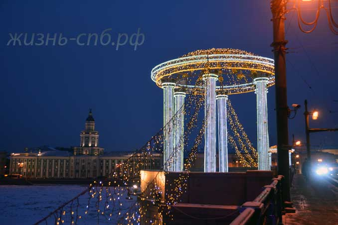 Дворцовый мост декабрь 2018 - новогодние украшения
