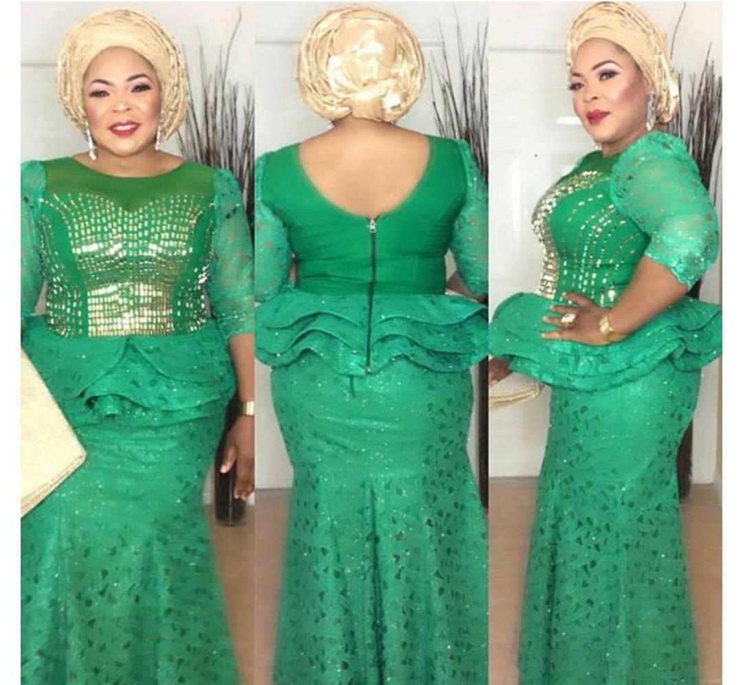 FANTASTIC AFRICAN LACE ASO EBI & AFRICAN PRINT STYLISH DRESSES! 4