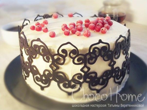 Узоры для тортов шоколадом