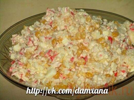 Салат из крабовых палочек и кукурузы и рис рецепт с очень вкусный