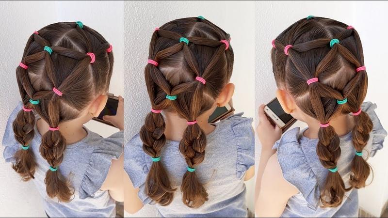 Penteado Infantil com elásticos coloridos e Maria Chiquinha