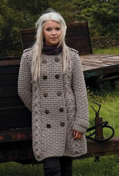 """Вязаное женское пальто """""""